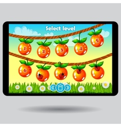 Game level selection fruit ui screen vector