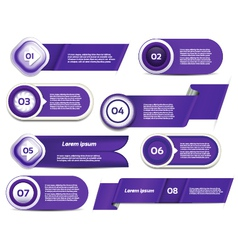 Set of blue-violet progress version step icons vector