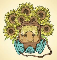 Sketch respiratory mask with sunflower vector
