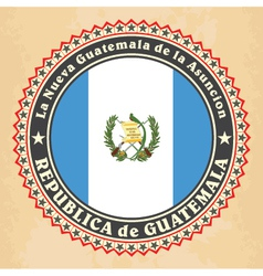 Vintage label cards of guatemala flag vector
