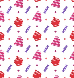 Seamless texture with cupcakes cakes and candies vector