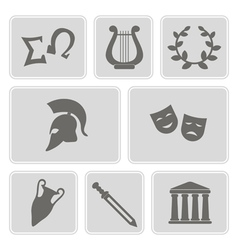 Icons with greece symbols vector
