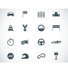 Black racing icons set vector
