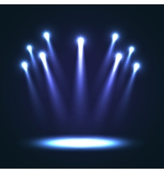 Background with group bright spotlights vector