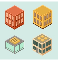 Set of 4 isometric houses in flat style vector