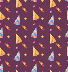 Seamless funny texture with party hats and sweets vector