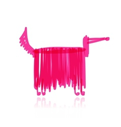Funny dog pink with long wool for your design vector