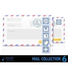 Air mail envelope with postal stamp isolated on vector