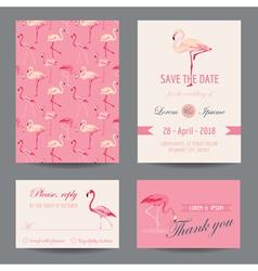 Invitation-congratulation card set - flamingo vector