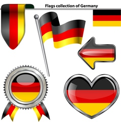 Glossy icons with germany flag vector