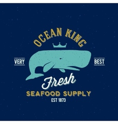 Ocean king seafood supplyer retro label or vector