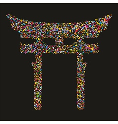 Grunge colourful religious japanese shinto symbol vector