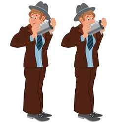 Happy cartoon man standing in gray hat with pipe vector