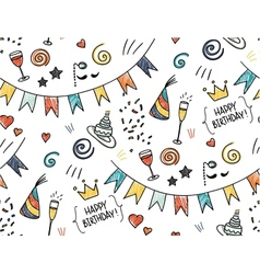 Hand drawn seamless doodle pattern birthday theme vector