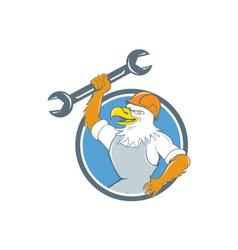 Bald eagle mechanic spanner circle cartoon vector