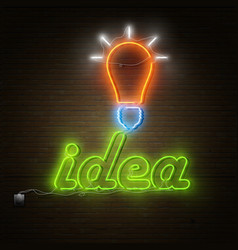 Neon idea text with electricity lightbulb vector