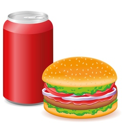 Hamburger and aluminum cans with soda vector