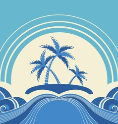 Abstract seascape with tropical palmsnature image vector