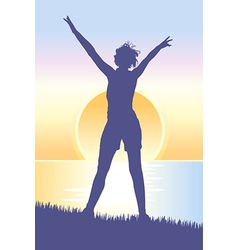 Young woman meeting sunrise on the hill vector