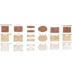 Wooden signboards handdrawn vector
