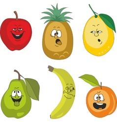 Emotion cartoon fruits set 010 vector