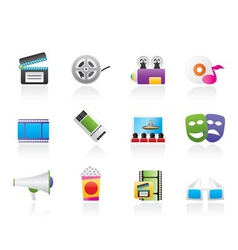 Movie theatre and cinema icons vector