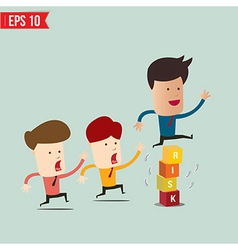 Businessman jump over risk block - - eps10 vector