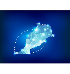 Morocco country map polygonal with spot lights vector