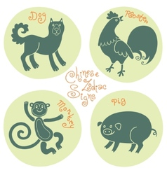 Set signs of the chinese zodiac vector