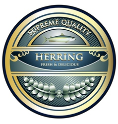 Herring gold label vector