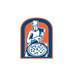 Pizza maker holding pizza peel shield woodcut vector