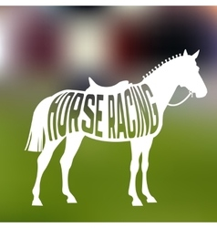 Concept of racing horse silhouette with text vector