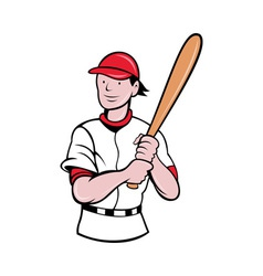Baseball player batting cartoon style vector