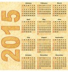 Old paper with calendar 2015 vector