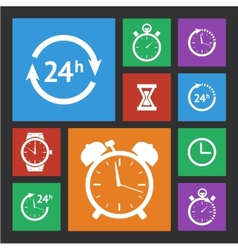 White clock icons set vector