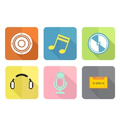 Music flat icon set vector