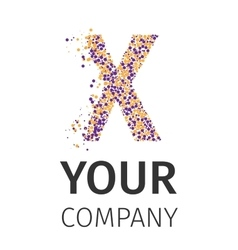 Alphabet particles logotype letter-x vector