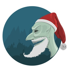 Evil santa claus in red hat vector