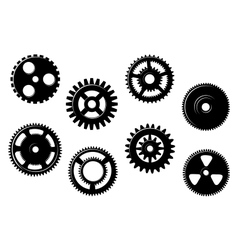 Set of gears and pinions vector