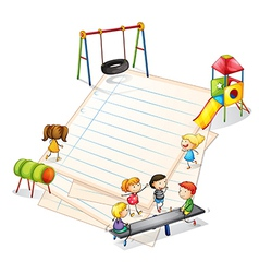 A paper with a park with many kids vector