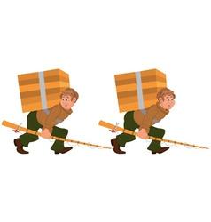 Happy cartoon man walking with fishing rod and big vector
