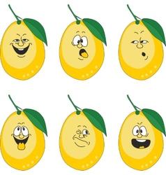 Emotion cartoon yellow lemon set 013 vector