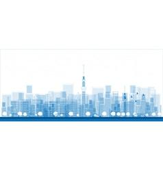 Outline tokyo skyline with skyscrapers vector