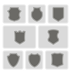 Monochrome icons with shields vector