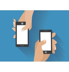 Hands holing smartphones vector