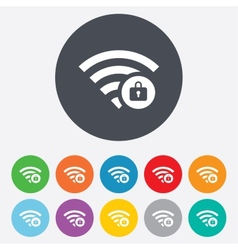 Wifi locked sign pass wi-fi symbol wireless vector
