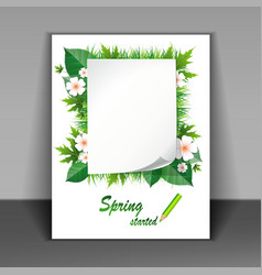 Flyer with grass and flowers vector