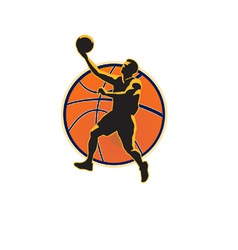 Basketball player lay up ball vector