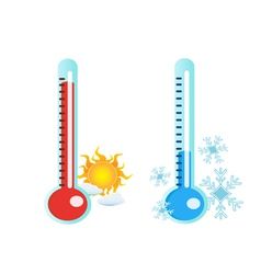 Thermometer in hot and cold temperature vector