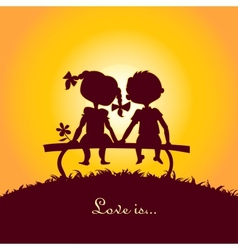 Sunset silhouettes of boy and girl vector